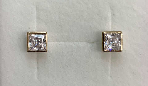 9CT Yellow Gold Bezel Set 5Mm Square Cubic Zirconia Stud Earrings