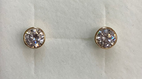 9CT Yellow Gold 6Mm Round Bezel Set Cubic Zirconia Stud Earrings