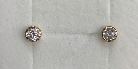 9CT Yellow Gold 4Mm Round Bezel Set Cubic Zirconia Stud Earrings