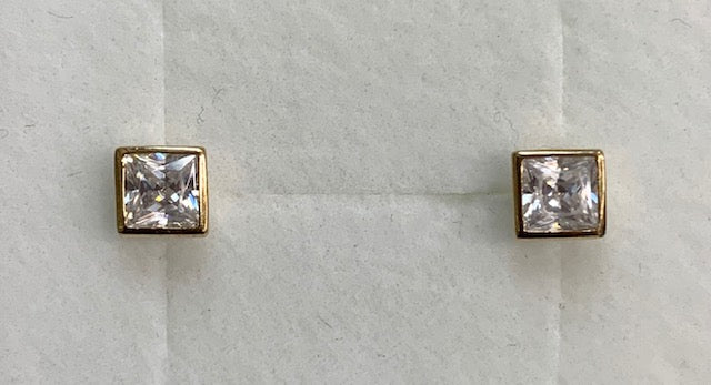 9CT Yellow Gold Bezel Set 4Mm Square Cubic Zirconia Stud Earrings