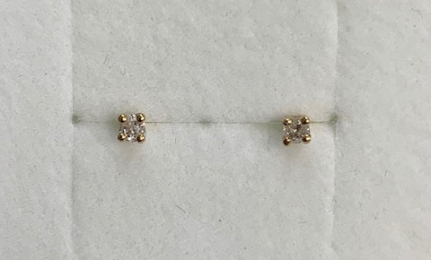 9Ct Yellow Gold 0.10Ct Claw Set Round Diamond Stud Earrings