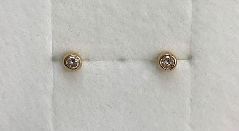 9Ct Yellow Gold 0.10Ct Round Bezel Set Diamond Stud Earrings