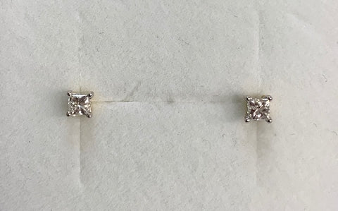 9Ct Yellow Gold Princess Cut Claw Set 0.25Ct Tdw Diamond Stud Earrings