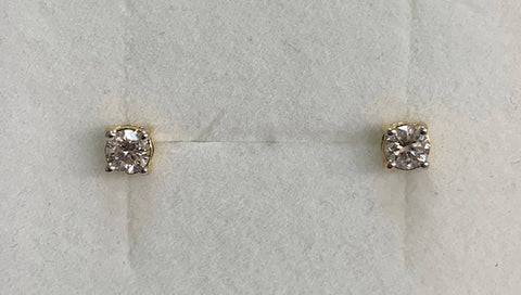 14Ct Yellow Gold 0.33Ct Tdw Diamond Stud Claw Set Earrings