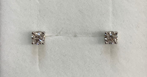 14Ct White Gold Round Diamond T.D.W 0.50Ct Claw Set Stud Earrings