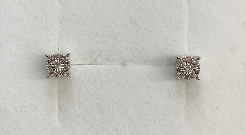 9Ct White Gold Illusion Set Diamond Stud Earrings 0.05CT TDW