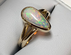 9Ct Yellow Gold Multicolour Tear Drop Shape Solid Opal Ring