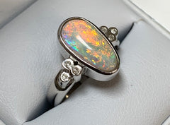 Sterling Silver Solid Diamond Set Coober Pedy Tear Drop Crystal Opal Ring