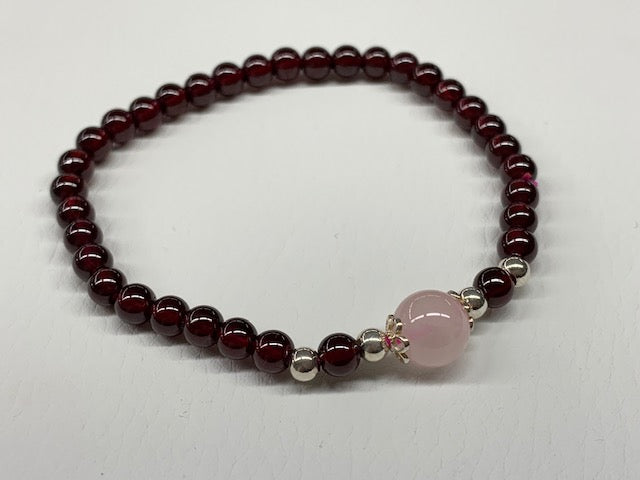 Sterling Silver Natural Garnet And Rose Quartz Elastic Bead Bracelet