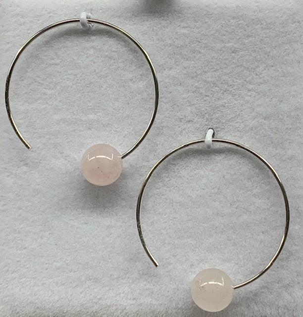 Sterling Silver Circle Hook Rose Quartz Ball Earrings