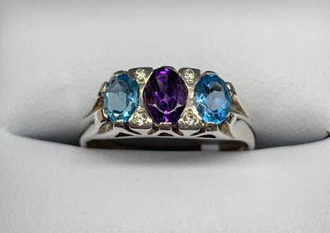 Sterling Silver Claw Set Amethyst, Blue Topaz And Cubic Zirconia Trio Ring