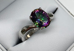 Sterling Silver Oval Claw Set Mystic Topaz Twist Ring