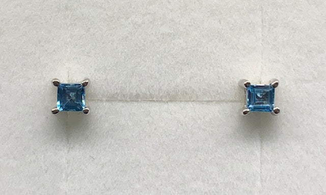 Sterling Silver 3Mm Square Claw Blue Topaz Stud Earrings