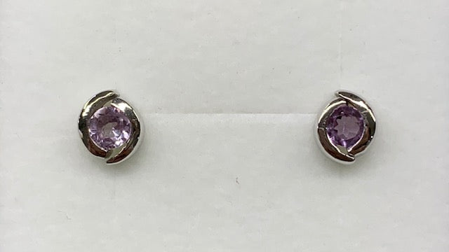 STERLING SILVER 4MM ROUND SEMI BEZEL SET AMETHYST STUD EARRINGS
