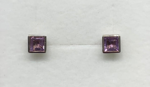 Sterling Silver Natural Amethyst Square Bezel Stud Earrings