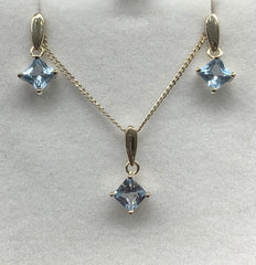 Sterling Silver Square Bluye Topaz Pendant and Earrings Set