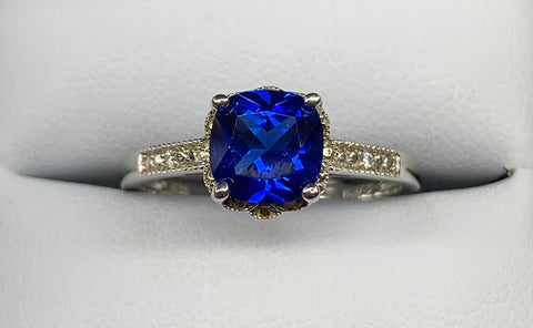 Sterling Silver Created Cushion Cut Sapphire and Cubic Zirconia Dress Ring - size O - R2134