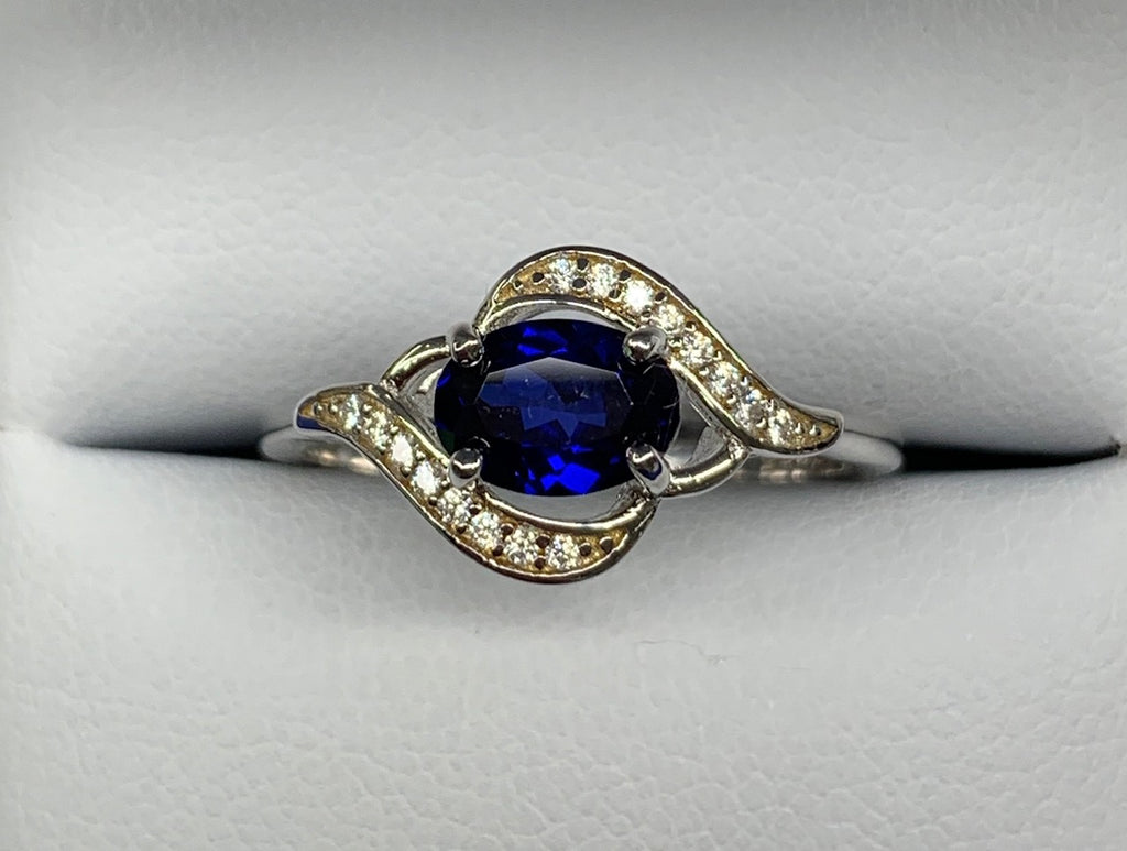 Sterling Silver 1.1ct Created Blue Sapphire and Cubic Zirconia Ring - size P1/2 - R2133
