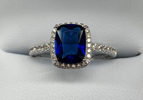 Sterling Silver Rectangle Cushion Cut Created Sapphire and Cubic Zirconia Ring - size R1/2 - R2141