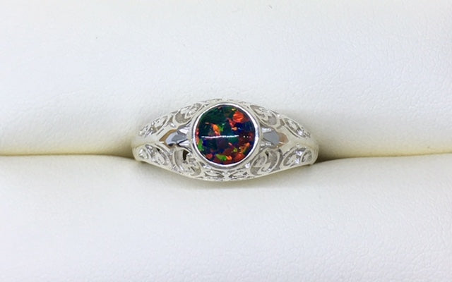 Sterling Silver Raised Filigree Ring With A Black Man Made Round Opal R1725
