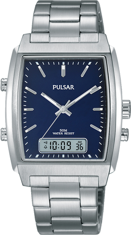 Pulsar Mens Rectangle Face, Blue Dial Sports Watch 50M Water Resistant