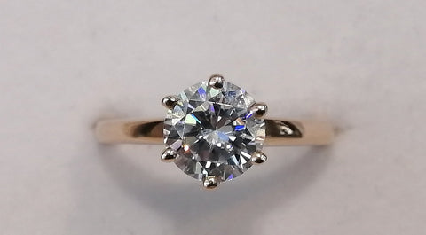 14ct rose gold CZ solitaire R2320