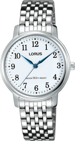 Lorus Ladies, White Dial 50M W/R Dress Watch With Silver Bracelet