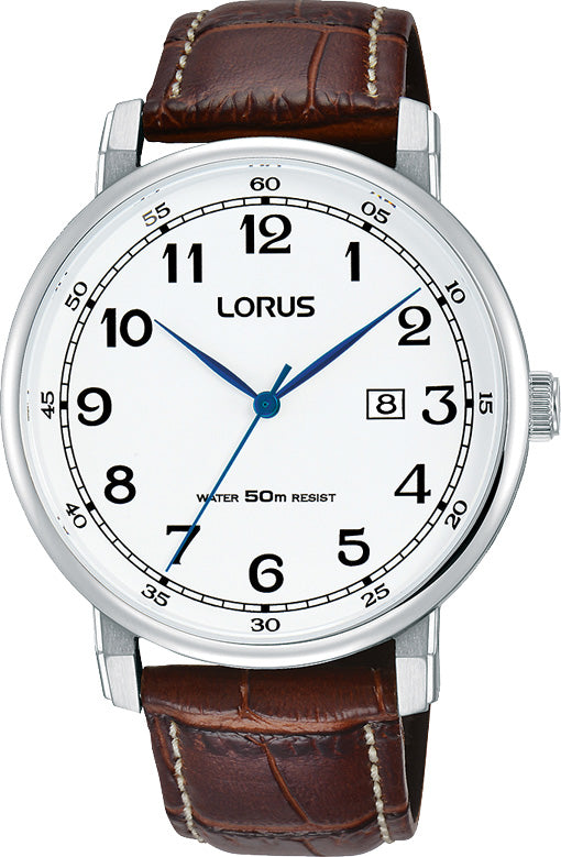 LORUS GENTS ROUND FACE BROWN LEATHER STRAP 50M WATER RESISTANT DRESS WATCH