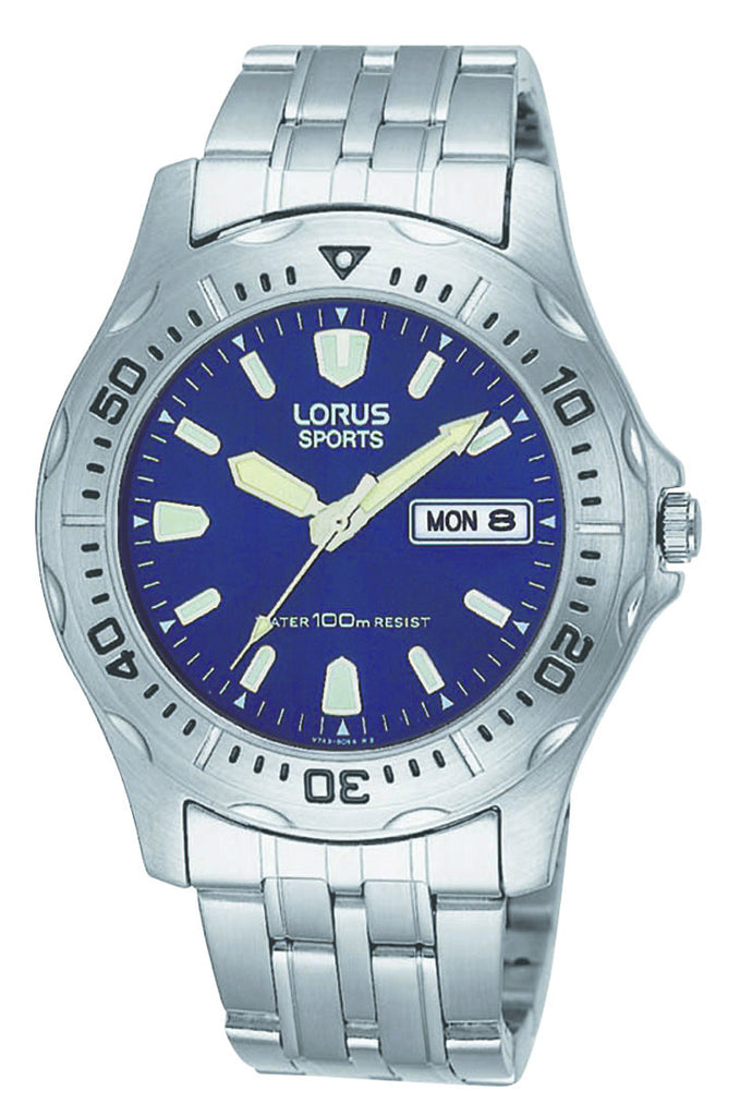 Mens Sports Day And Date Blue Dial Sports Watch