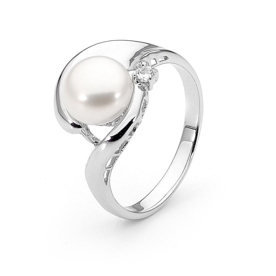 Ikecho Sterling Silver Wrap Around Design 9Mm Button Pearl Ring