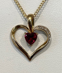 9ct Yellow Gold Created Ruby and Diamond Heart Pendant