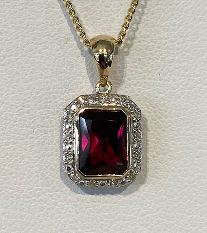 9ct Yellow Gold Emerald Cut Created Ruby and Diamond Pendant
