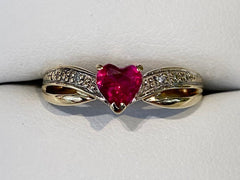 9ct Yellow Gold Heart Ruby and Diamond Cross Over Ring R2694