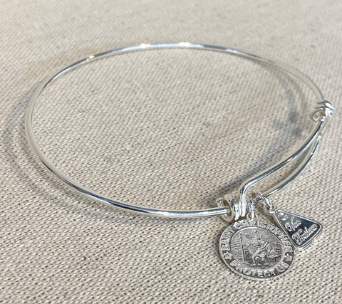 Sterling Silver Adjustable Bangle with Medium Round Saint Christopher Charm G6873