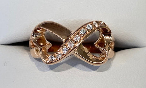 Sterling Silver Rose Gold Plated Cz Infinity Ring R2700