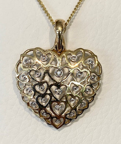 9ct Yellow Gold Diamond Heart Enhancer Pendant