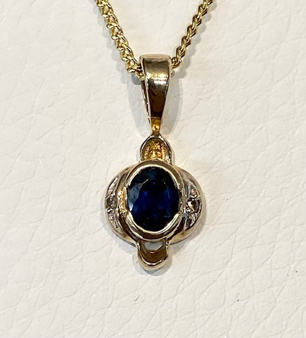 9ct Yellow Gold Sapphire and Diamond Pendant