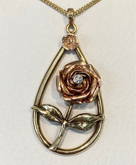 9ct Yellow and Rose Gold Handmade Rose and Leaf Diamond Pendant