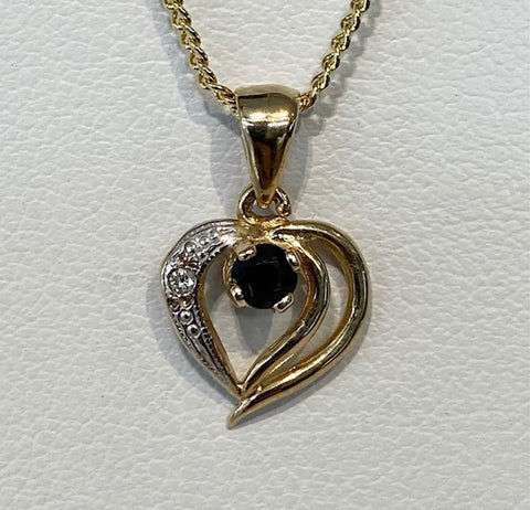 9ct Yellow Gold Sapphire and Diamond Heart Pendant