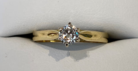 18ct Yellow Gold Diamond Solitaire Engagement Ring 0.30ct TDW R2695
