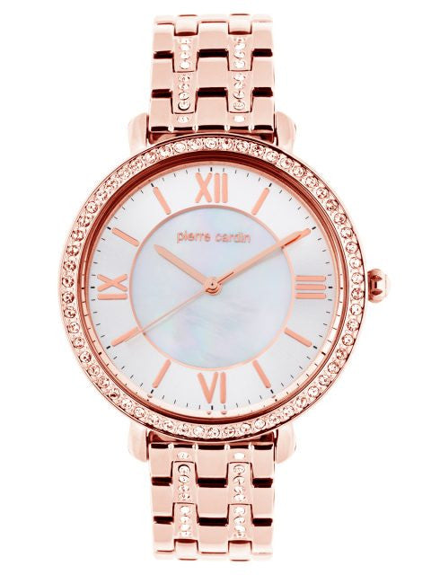 PIERRE CARDIN ROSE TONE, MOTHER OF PEARL DIAL WATCH WITH CRYSTAL STONES