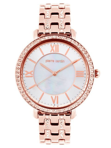 Pierre Cardin Rose Tone, Mother Of Pearl Dial With Crystal Stones