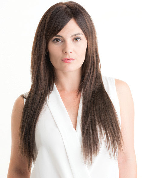 Model (Rea) wearing 230g clip in Hair Extensions in colour #2 facing forwards.