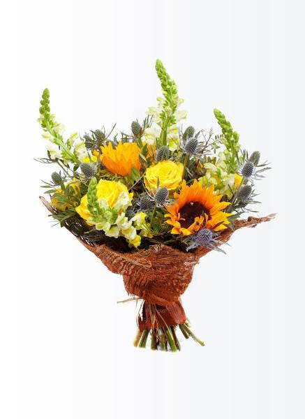 Summer flowers bouquet with sunflowers