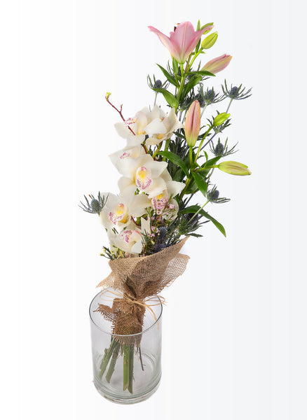A long-stemmed bouquet with orchids.