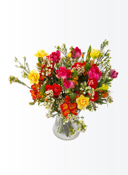 A vivid bouquet of spring flowers