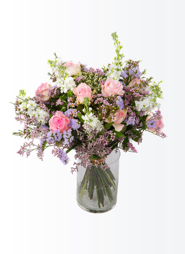 A bouquet of pastel coloured flowers