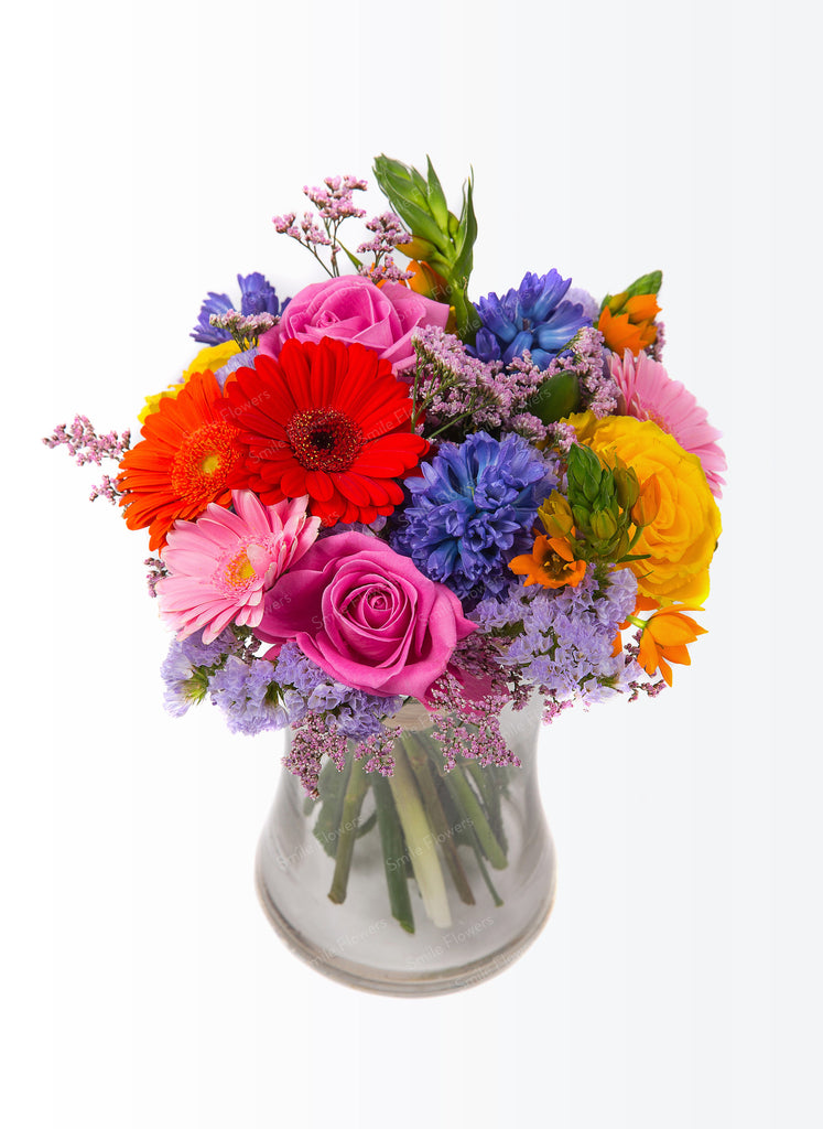A bouquet of bright coloured flowers