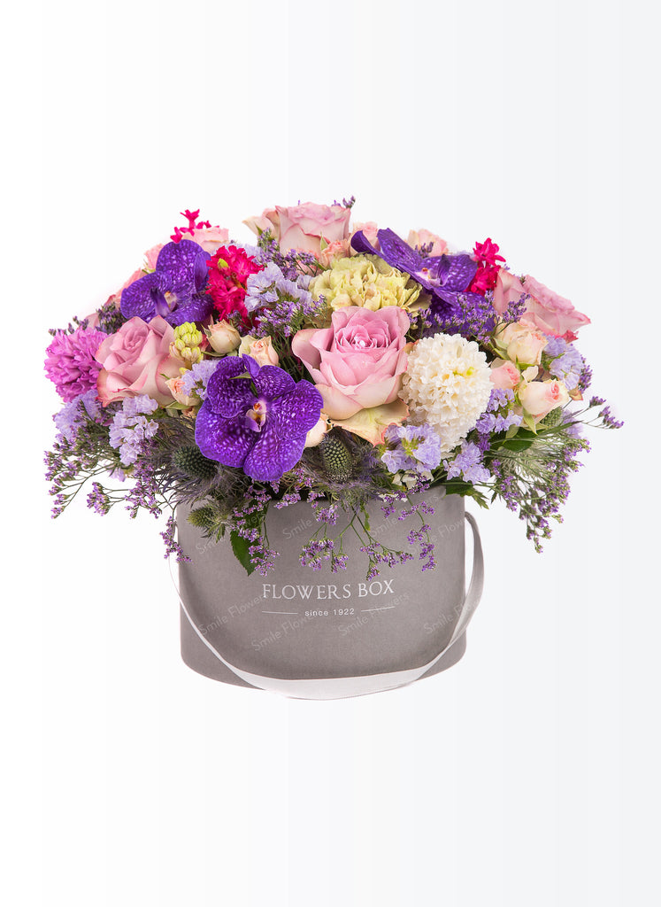 Flowers box in lilac, pink and purpose colours