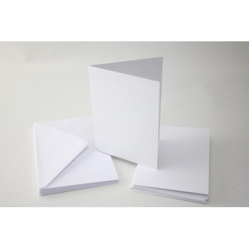 A6/C6 White Hammered Cards & Envelopes x 10